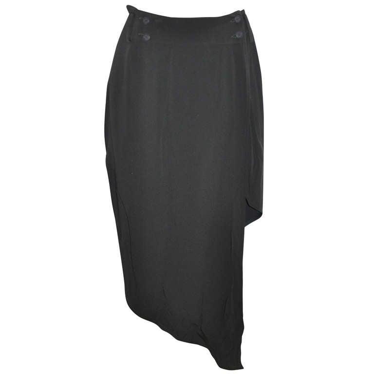 OZBEK Black Asymmetrical Black Wrap-Around Skirt For Sale