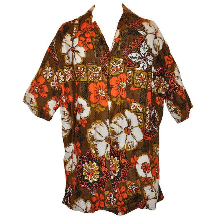 Jantzen men 39 s hawaiian print shirt for sale at 1stdibs for Lsu hawaiian print shirts