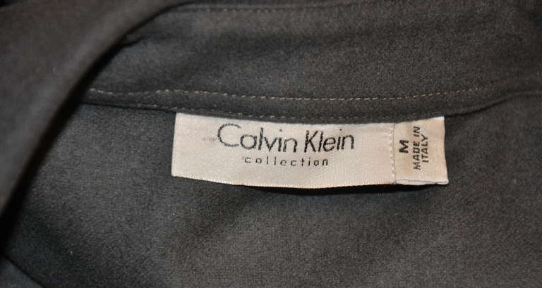 Calvin Klein 'Collection' Olive-Khaki Micro-Zipper Front Top 4