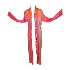 Fernando Sanchez Multi-Color Silk Crepe de Chine Robe