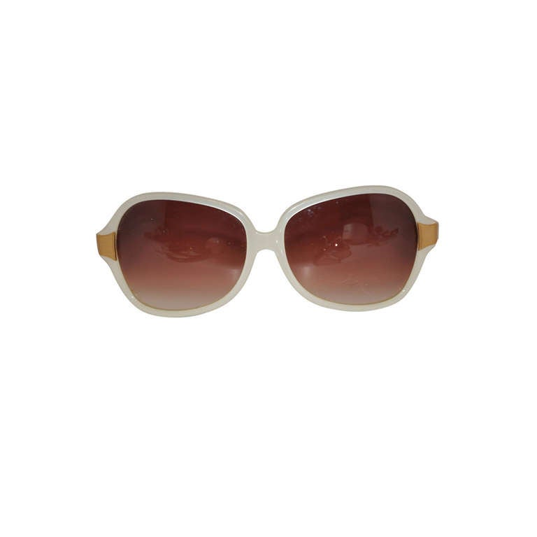 Oliver Peoples Pearl and Gold Sunglasses For Sale