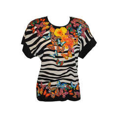 Margaretha Ley for Escade Bold Floral & Butterflies Silk Top