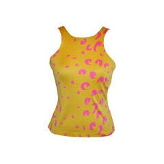 "Stephen Sprouse ""SPROUSE"" Bold Yellow & Fuchsia Silk Jersey Stretch Tank"