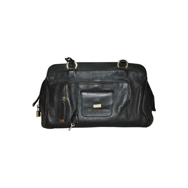 TOD's Black Textured Calfskin Leather Handbag
