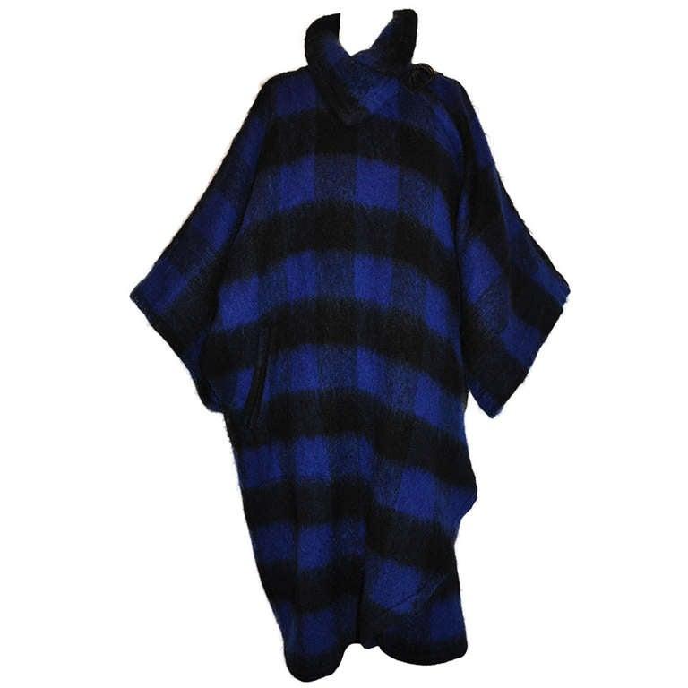 Yves Saint Laurent Navy & Black Mohair Cape Coat 1