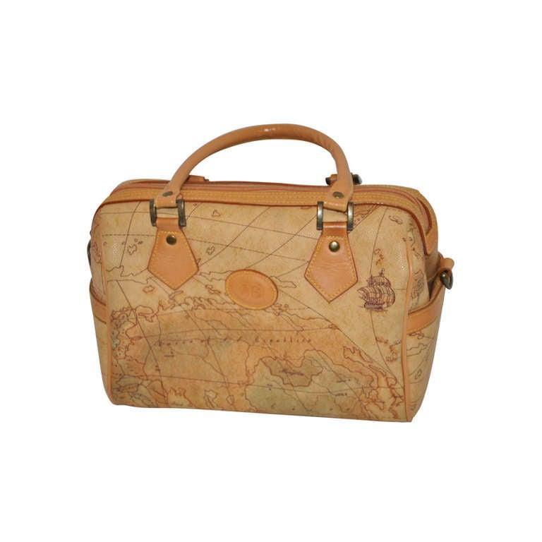 """Allen Edward Embossed """"Map"""" Barrel Handbag For Sale"""