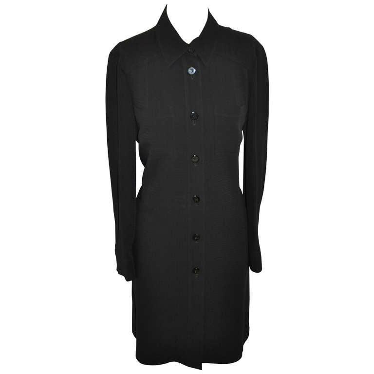 Les Copains Black Button-Down Shirt-Dress For Sale