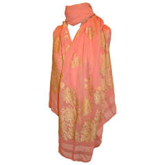 Powder-Pink Chiffon with Hand-Embroidered Silk Flowers Huge Scarf