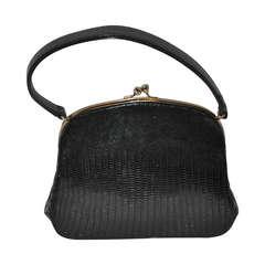 Miniauture Black Lizard with Gold Hardware Handbag