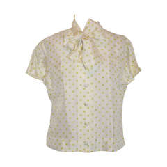 "Peck & Peck Cream with Pale-Green Polka Dot Short-Sleeve ""Bow"" Blouse"
