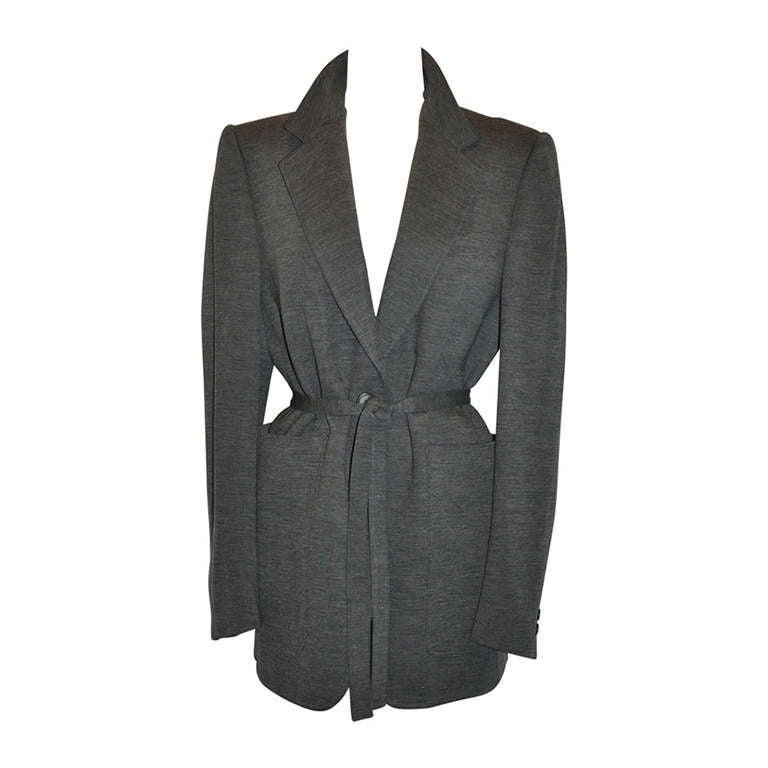 Yoshi Yamamoto Gray Wool Jersey with Tie Optional Belt