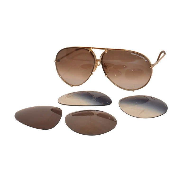 """Porsche Design """"Carrera"""" 18k Frames with Two Extra Lenses For Sale"""