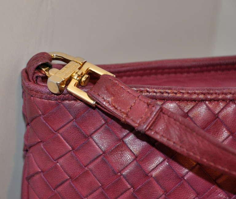 Bottega Veneta Fuchsia Large Woven Lambskin Shoulder Bag 3