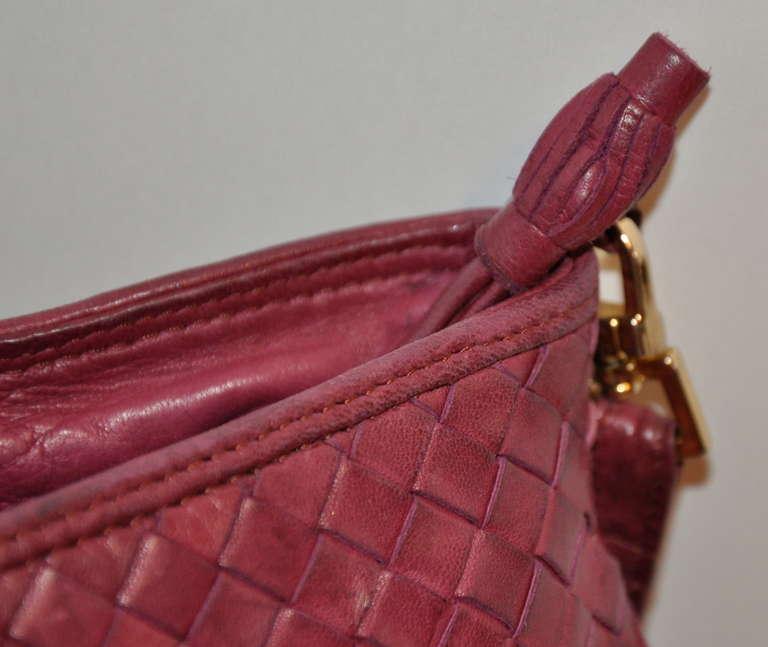 Bottega Veneta Fuchsia Large Woven Lambskin Shoulder Bag 5