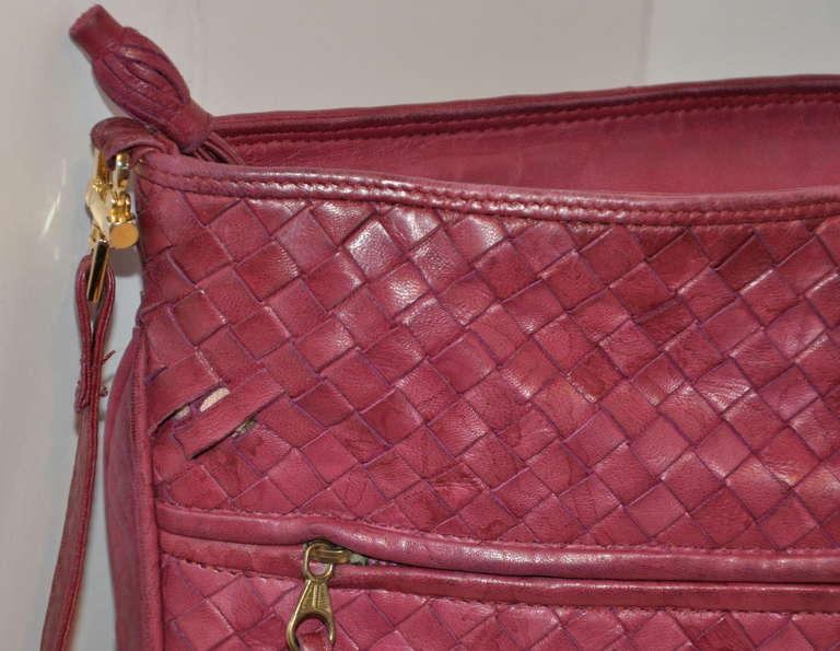 Bottega Veneta Fuchsia Large Woven Lambskin Shoulder Bag 6