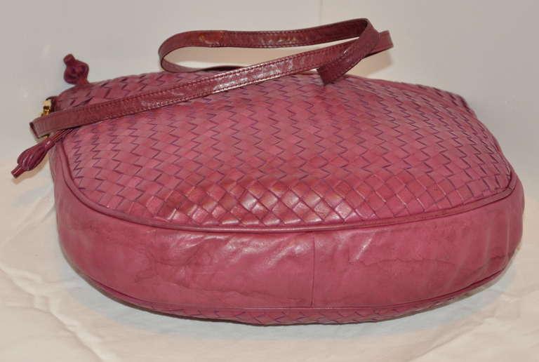 Bottega Veneta Fuchsia Large Woven Lambskin Shoulder Bag 4