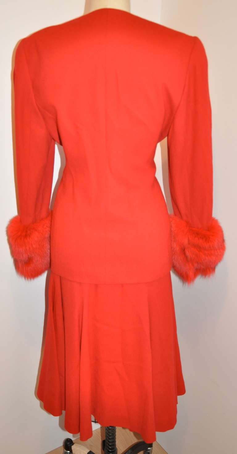 Albert Nipon Red Wool Crepe With Red Fox Accent Ensemble