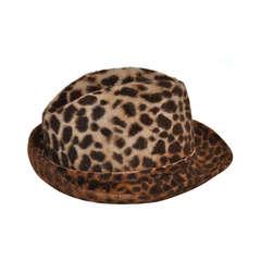 Oscar de la Renta Wool Felt Leopard Print Hat