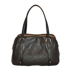 Ralph Lauren Black Calfskin 3-Sectional Tote Handbag