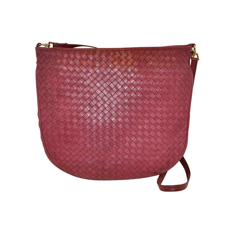 Bottega Veneta Fuchsia Large Woven Lambskin Shoulder Bag