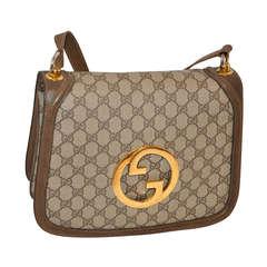 """Gucci Monogram Sectional Shoulder Bag with Huge """"GG"""" Hardware"""