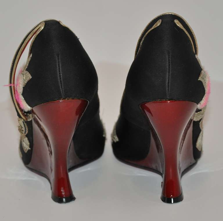 Brown Yves Saint Laurent Hand-Embroidered Blood-Red Patent Leather Wedge Shoe For Sale