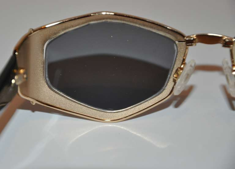 57ef628530 Cazal Gilded Gold Hardware with Leopard Print Sunglasses For Sale at 1stdibs