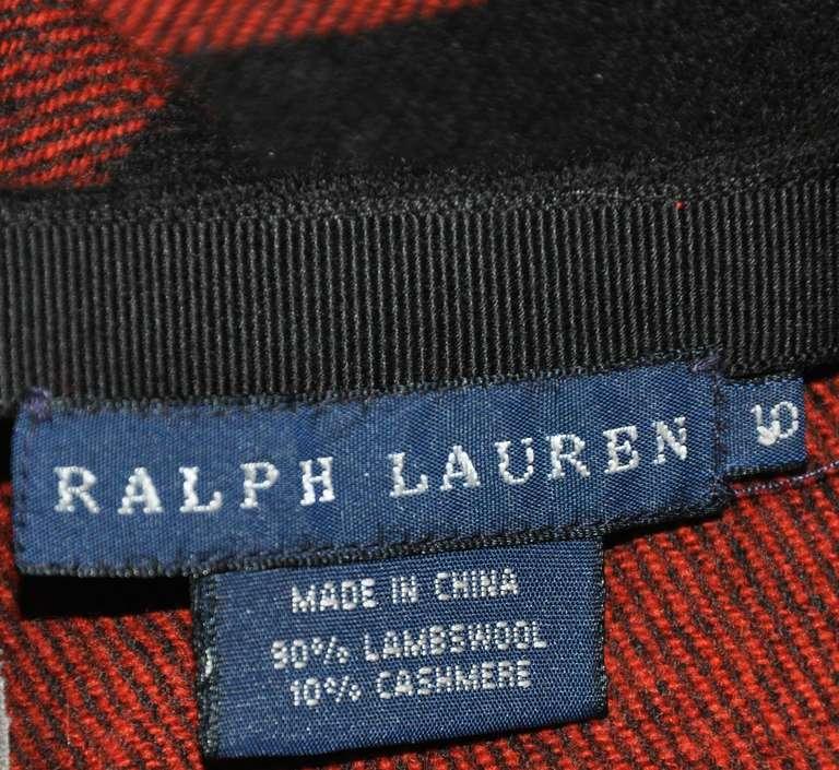 Ralph Lauren Fringed Red & Black Checkered Maxi Skirt 3