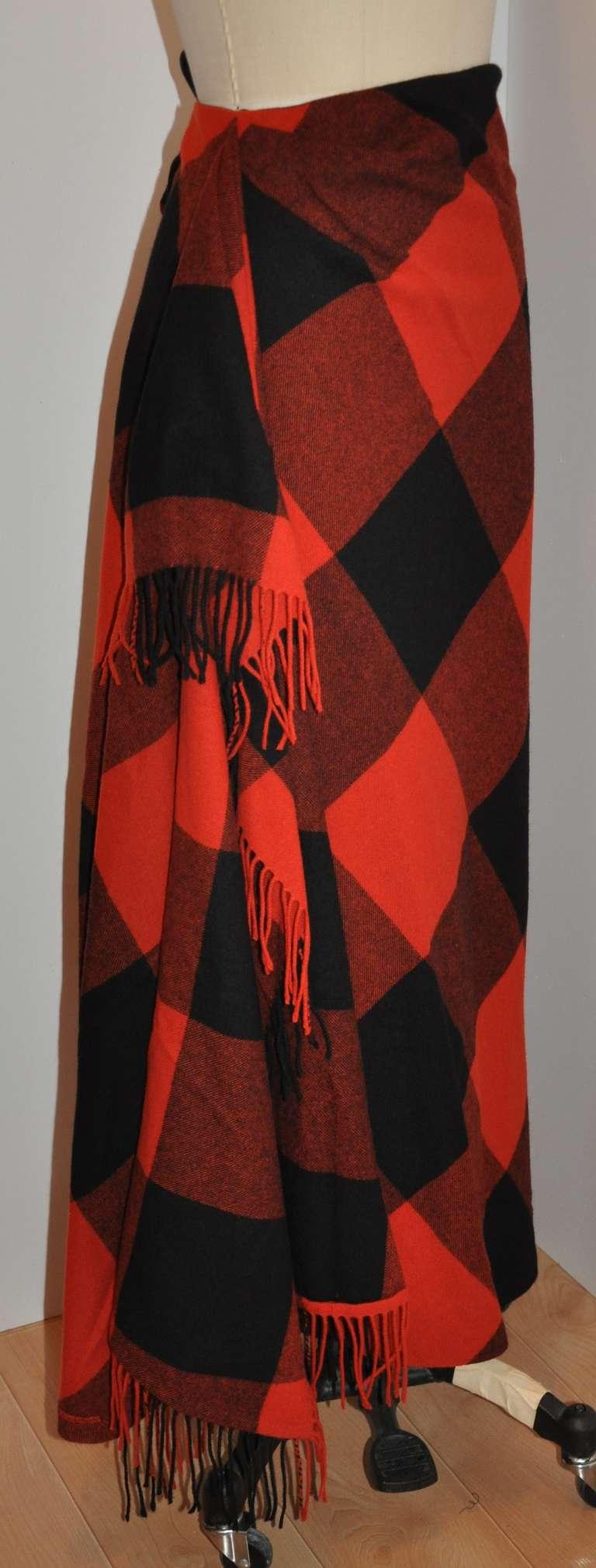 Ralph Lauren Fringed Red & Black Checkered Maxi Skirt 2