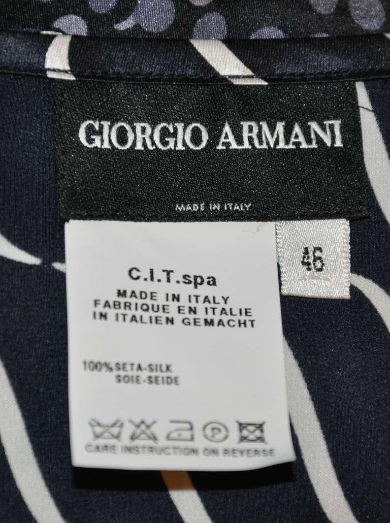 Black Giorgio Armani Silk Navy & White Draped Front Top For Sale