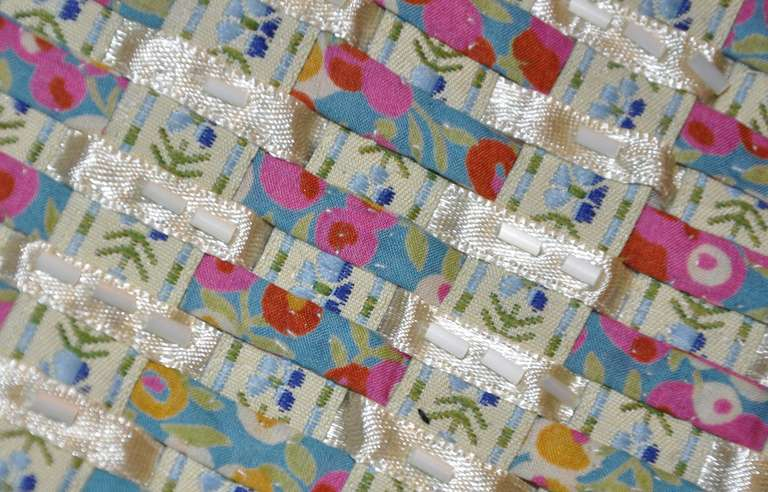 Oscar de la renta woven skirt of ribbon embroidery and