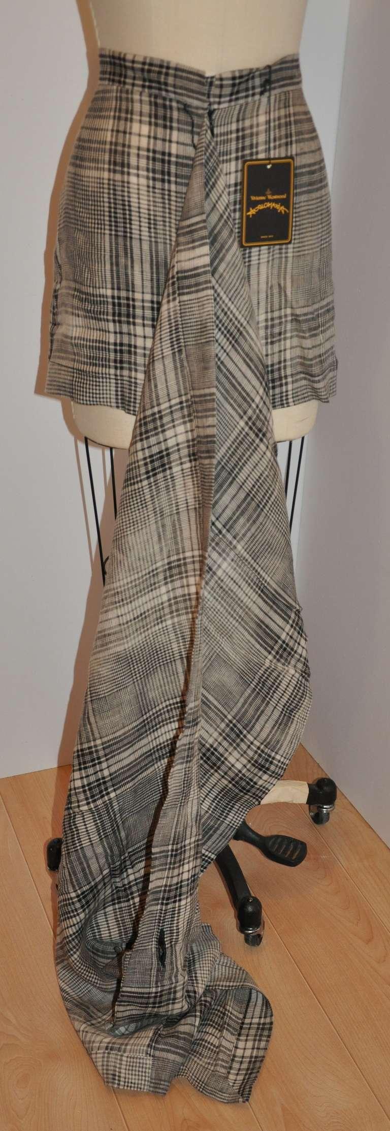 Gray Vivienne Westwood Black & White Linen Plaid Deconstructed Skirt For Sale