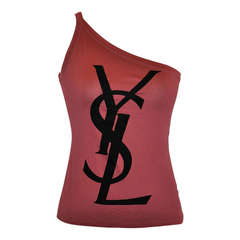 Yves Saint Laurent One Shoulder Signature YSL Emblem Top