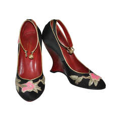 Yves Saint Laurent Hand-Embroidered Blood-Red Patent Leather Wedge Shoe