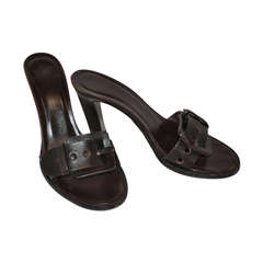 "Bottega Veneta Chocolate Brown ""Buckle"" Sandals."