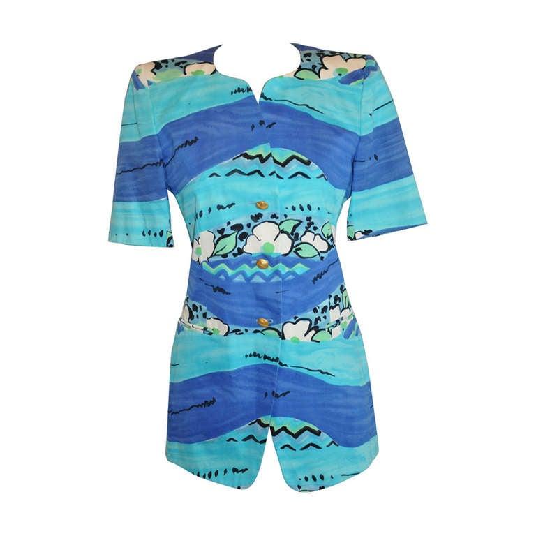 Escada by Margaretha Ley Bold Turquoise Print Jacket
