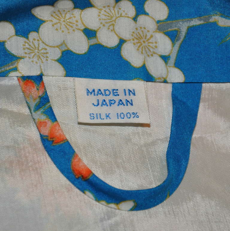 Cobalt Blue Floral Silk Japanese Kimono 2