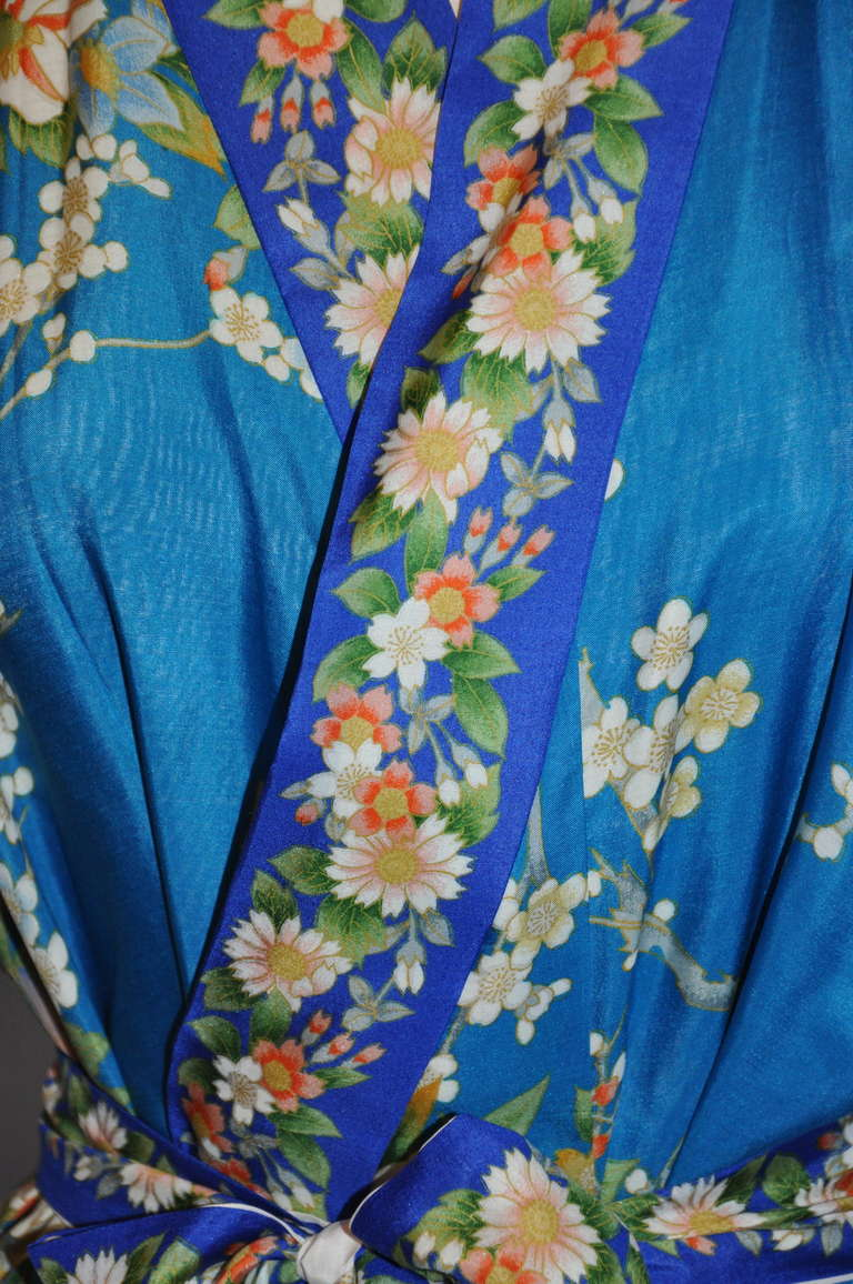 Cobalt Blue Floral Silk Japanese Kimono 3