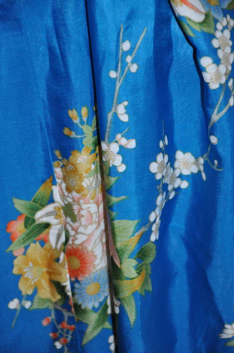 Cobalt Blue Floral Silk Japanese Kimono 5