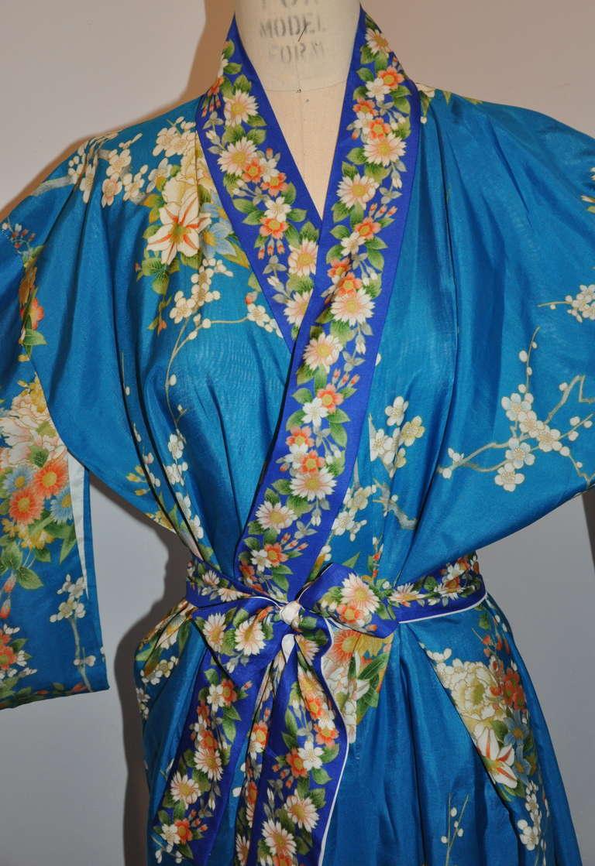 Cobalt Blue Floral Silk Japanese Kimono 6