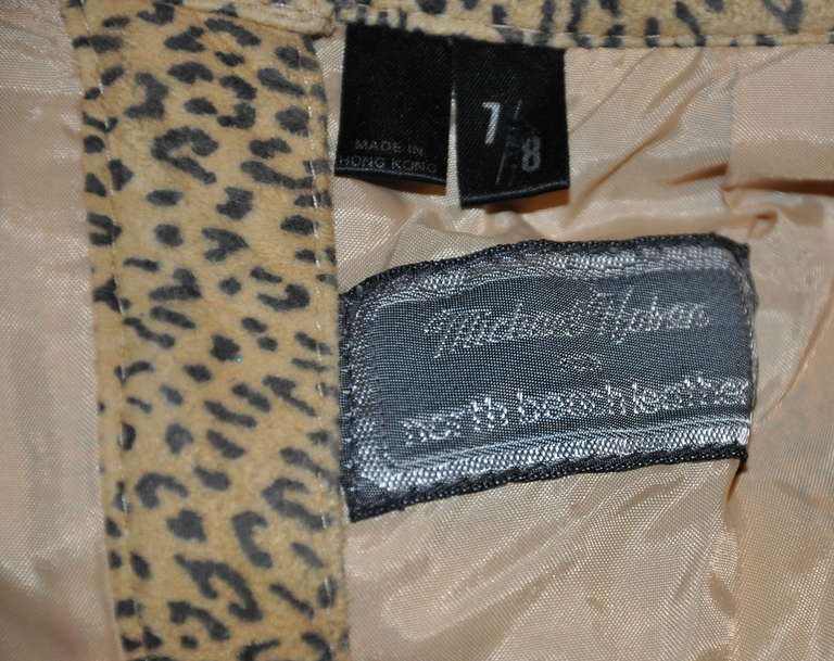 Brown Michael Hoban for North Beach Leather 2-Tier Chamois Leopard Print Skirt For Sale