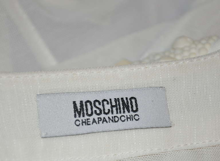 Women's Moschino 'Cheap & Chic' Detailed Cap-Sleeve & Embellished Open Blouse For Sale
