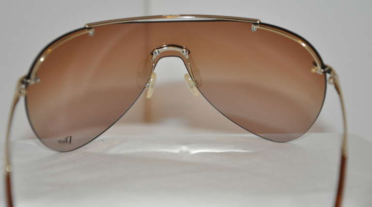 Christian Dior Wrap Around with Gold Hardware Sunglasses & Case In Good Condition For Sale In New York, NY
