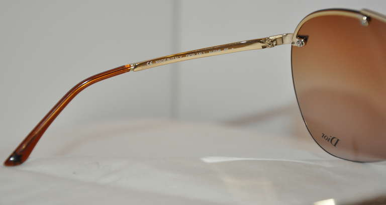 Christian Dior Wrap Around with Gold Hardware Sunglasses & Case 5
