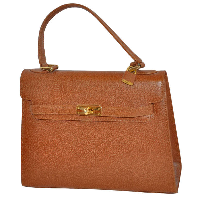 Wigmore Of London Kelly Style Textured Tan Handbag