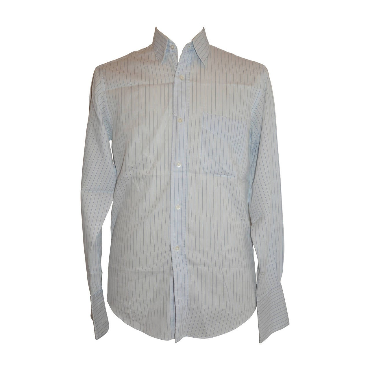 "Hermes Men's ""Shades of Blue"" Pinstripe Button Shirt"