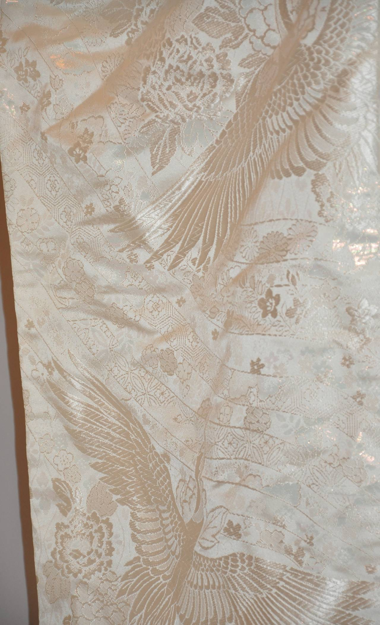 "Beige Japanese Cream Ceremonial ""Crane with Flowers"" Fully Lined Kimono For Sale"
