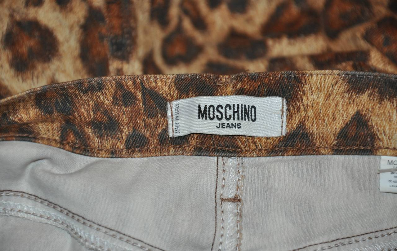 Moschino Leopard Print Five-Pocket Stretch Cotton Pants 2