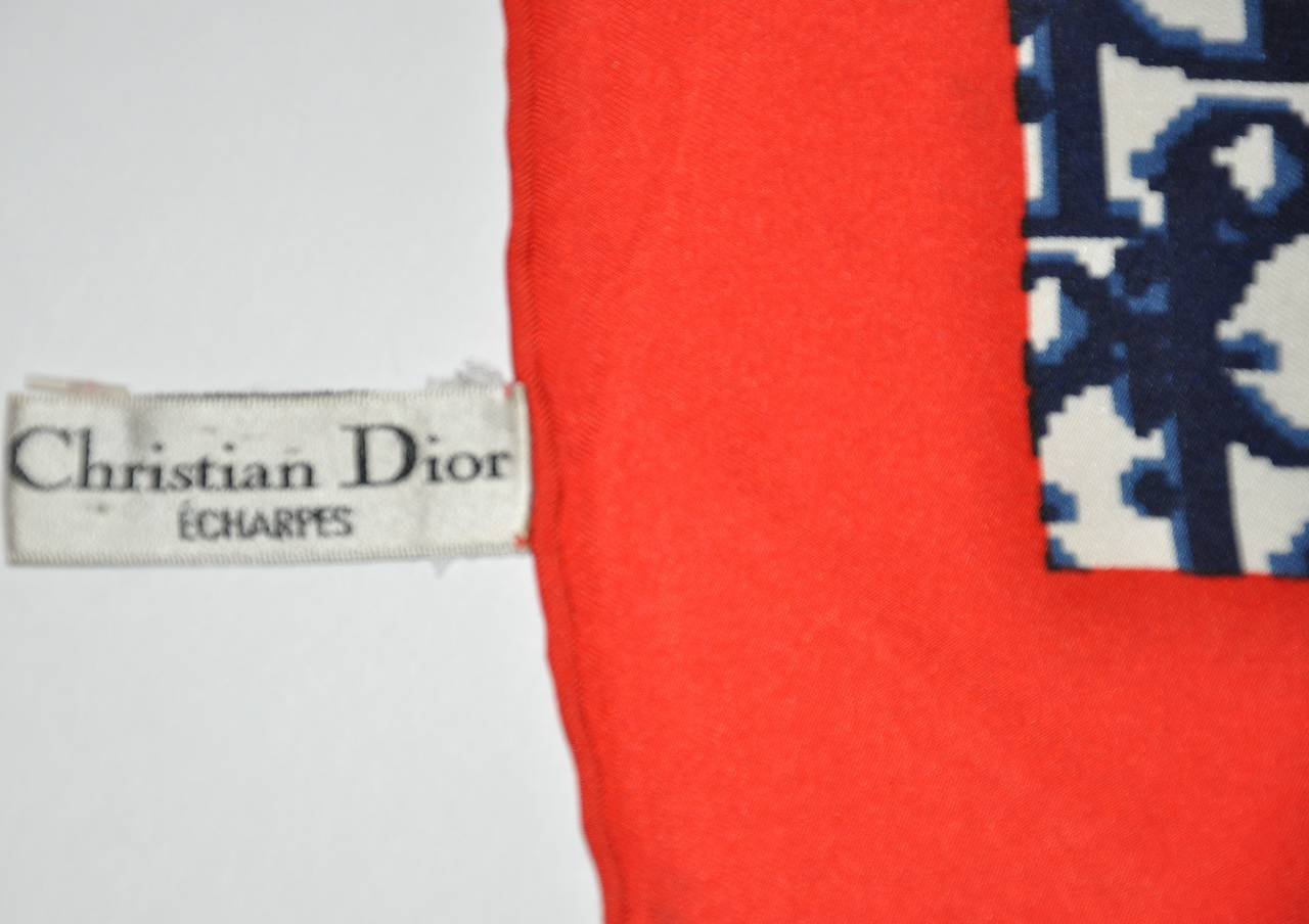 Pink Christian Dior Signature Red, White and Blue Monogram Silk Scarf For Sale