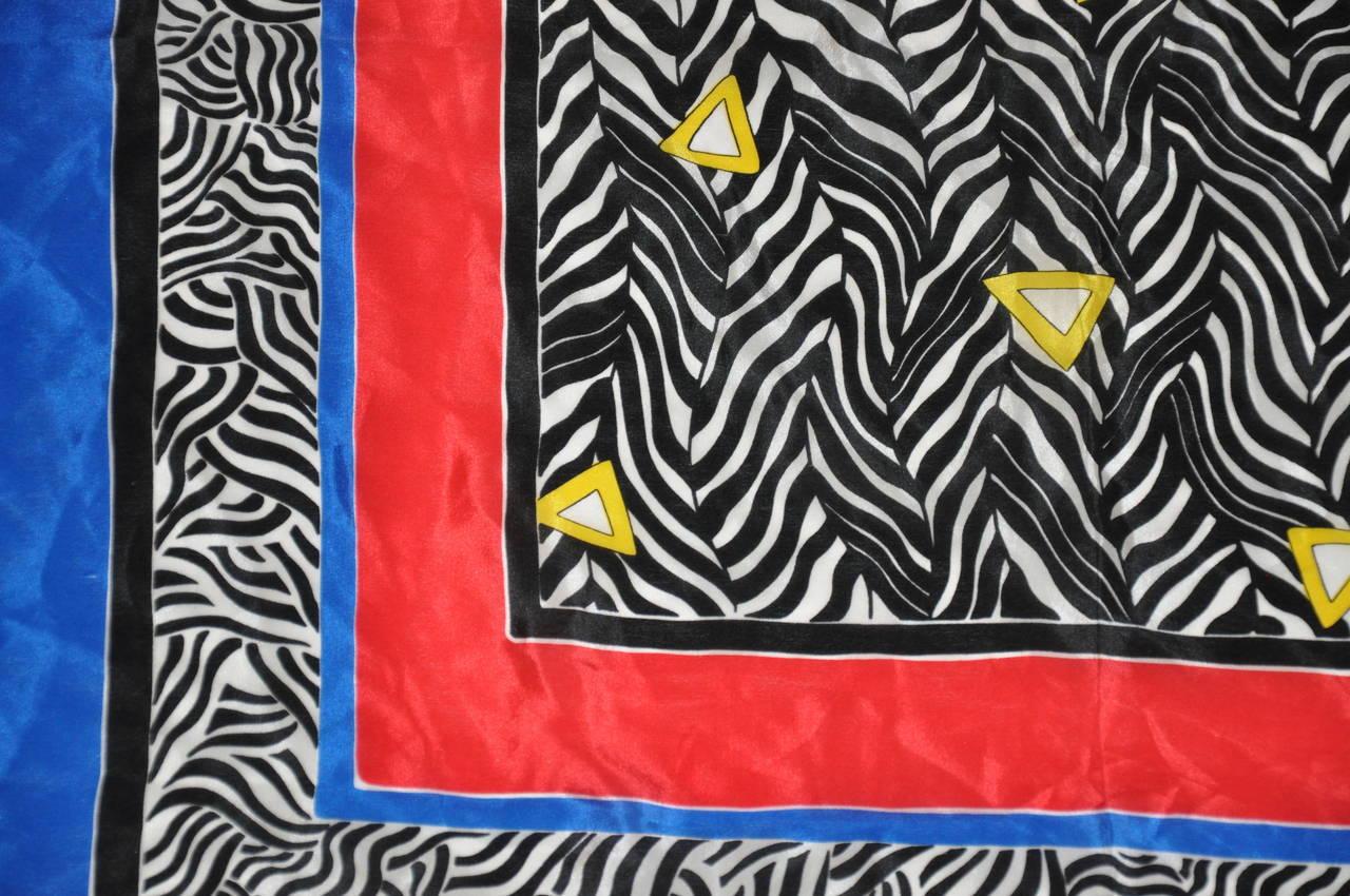 Purple Oscar de la Renta Multi-Colors with Black & White Stripes Silk Scarf For Sale